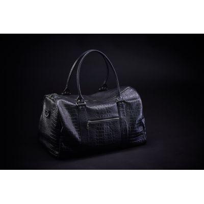 Дорожная сумка кожаная Schultiz (черная, Рептилия)